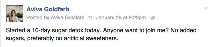 Facebook sugar detox call - AvivaGoldfarb