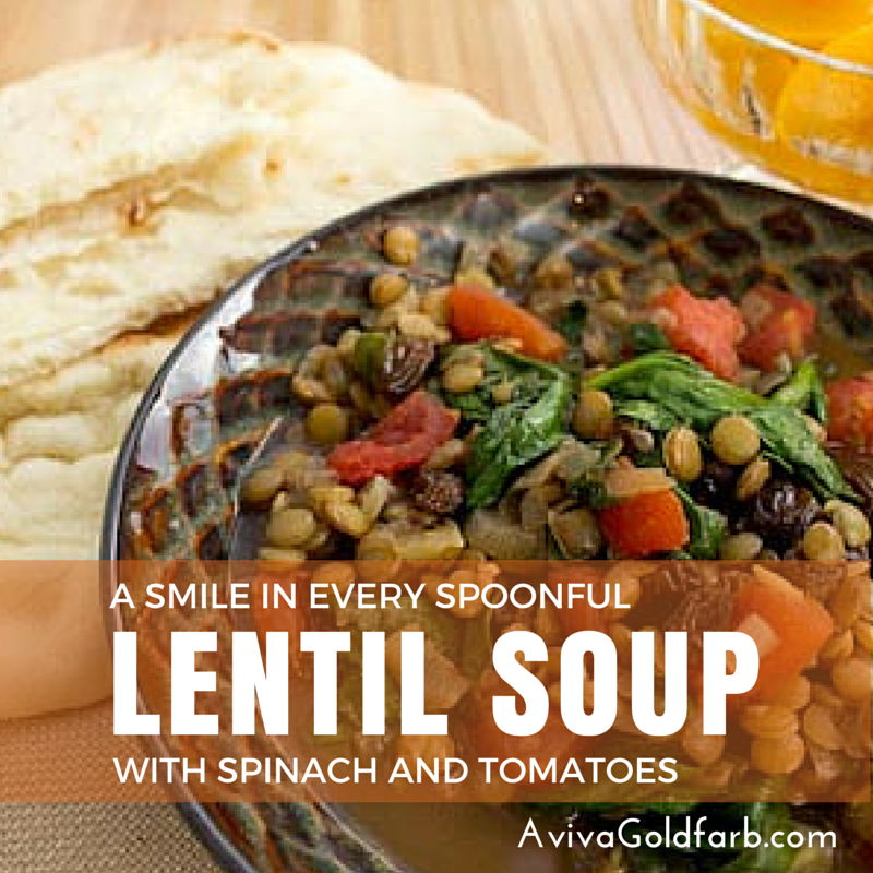 Lentil Soup with Spinach and Tomatoes - AvivaGoldfarb.com